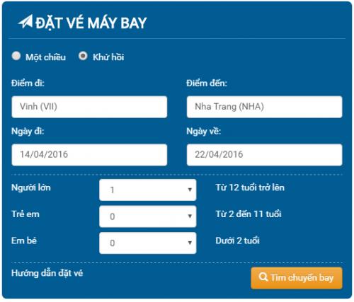 Đặt mua vé máy bay vinh Đà Lạt của Công ty cổ phần hàng không vietjet air giá rẻ